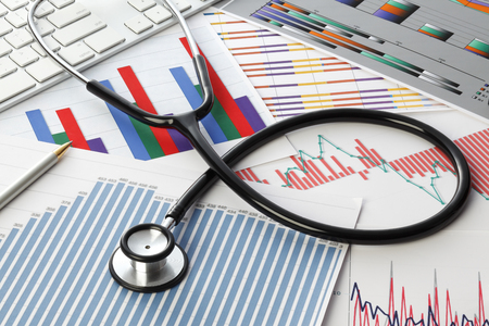 Stethoscope with financial statement 写真素材