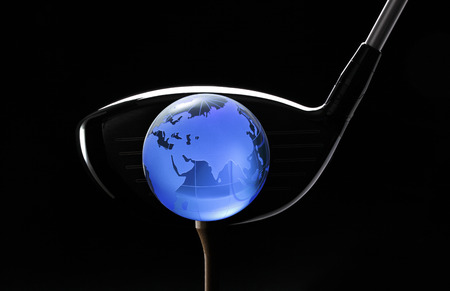 tee off: Tee off Glassy globe and club on tee