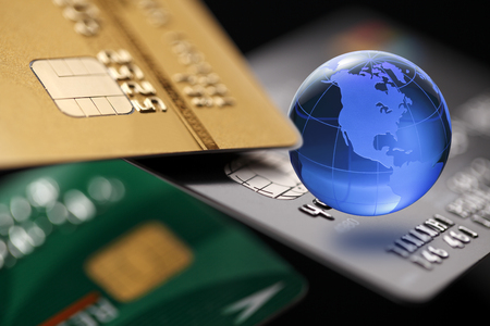 internet globe: Internet Banking. Credit card with Globe. Payment concept.
