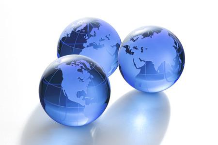 north china: Blue glass globe on white background