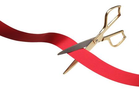 Red Ribbon Cutting Ceremony Archivio Fotografico