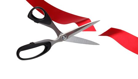 scissors: Red Ribbon Cutting Ceremony (with clipping path) Stock Photo