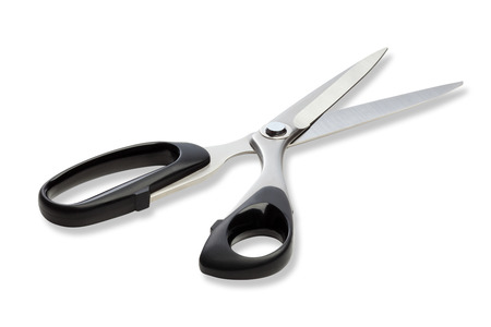 studio shots: Clse-up scissor on white background with clipping path