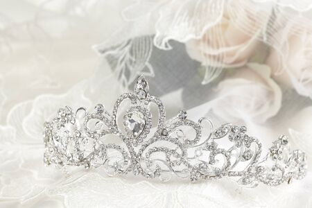An up close image of a wedding crown