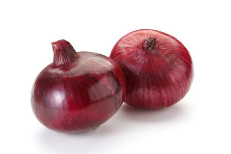 cebolla: Cebolla roja aislada sobre fondo blanco  Foto de archivo