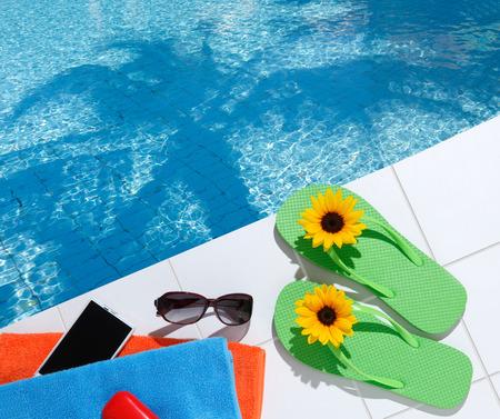 sandal tree: Image of the resort poolside Stock Photo