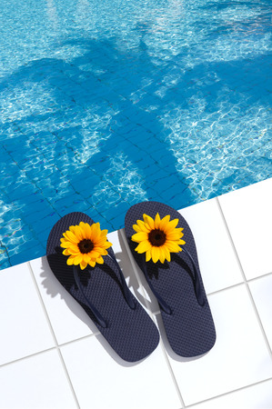 unattended: Image of the resort poolside Stock Photo