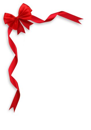 white ribbon: Shiny red satin ribbon on white background Stock Photo