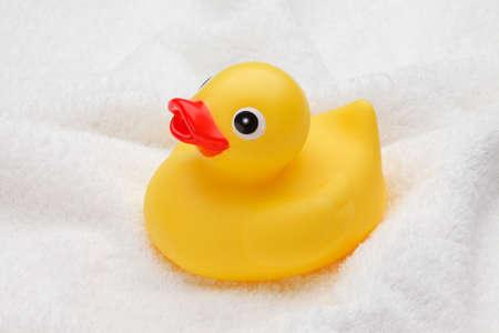 pato de hule: Pato de goma amarillo en toallas de baño Foto de archivo