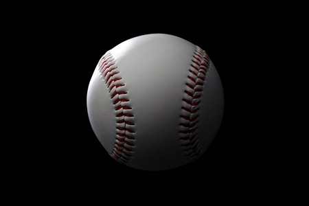 actividades recreativas: Una imagen de cerca de una pelota de béisbol en el fondo negro