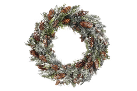 neige noel: Homemade Christmas Wreath on white background Banque d'images