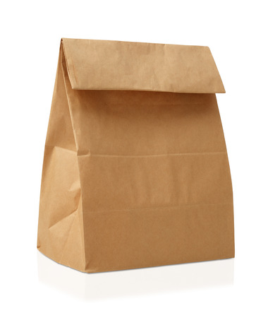 Recycle bruine papieren zak. Stockfoto