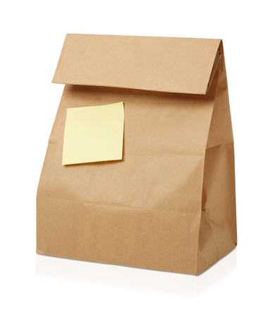 sticky notes: Recycle brown paper bag with sticky notes Stock Photo