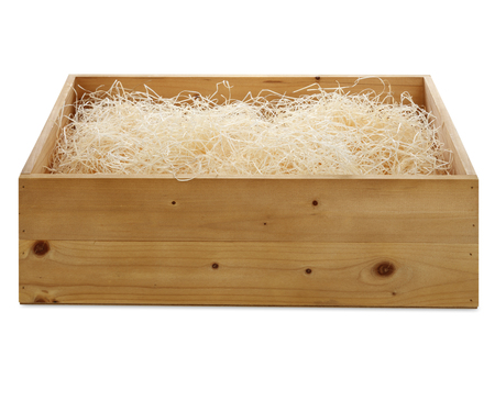 cushioning: wooden box with wood shavings isolated on white