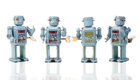 retro: retro robot toys on white with clipping path
