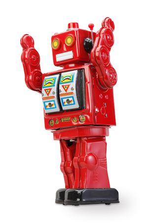 tin robot: old classic tin robot with clipping path