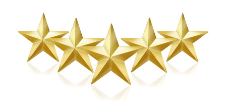 Five gold stars on white background Stock Photo