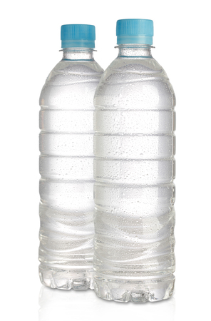 Mineral water bottle on white