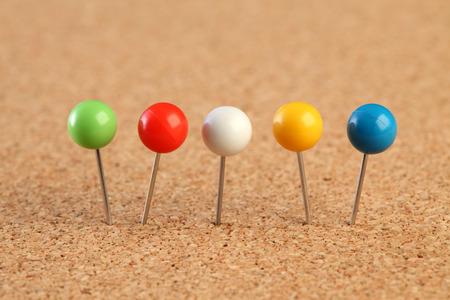 Colorful push pins Stock Photo