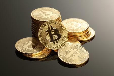 황금 Bitcoins. 새로운 가상 화폐 스톡 콘텐츠