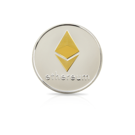 On the white background, Studio shot of ethereum. Digital virtual currency