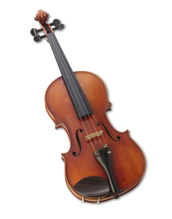 A violin on a white background with clipping path