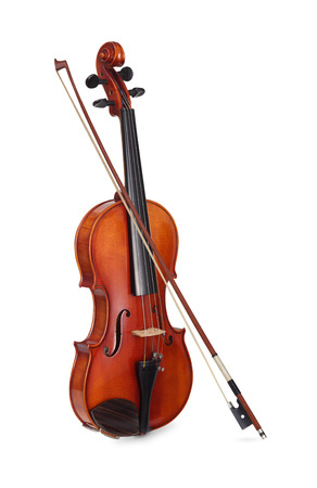 Violin with bow isolated on white background Stock Photo