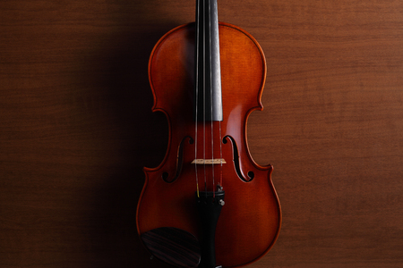 A violin on a wood background. 写真素材