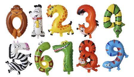 animal  numbers balloons isolated on white background