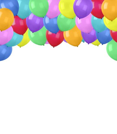 Multicolor balloons on white background Imagens