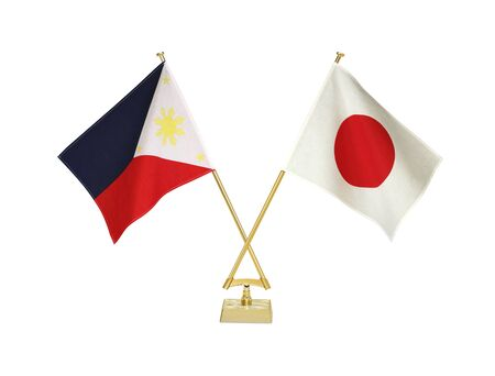 Two crossed national flags on white background