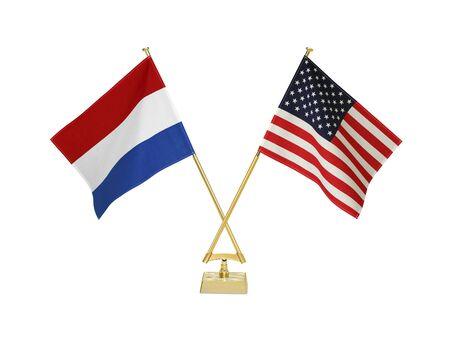 Zwei gekreuzte Nationalflaggen auf weißem background