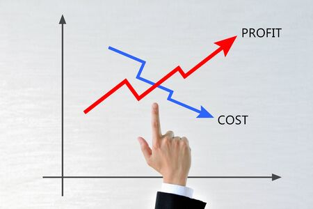 Businessman's hands with a graph of costs and profits Zdjęcie Seryjne
