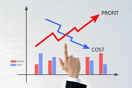 Businessman's hands with a graph of costs and profits
