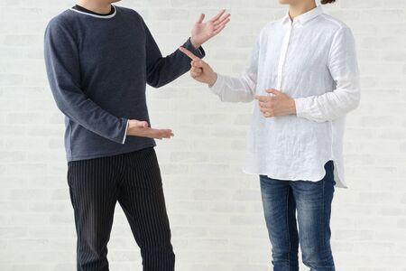 A man and a woman quarrel