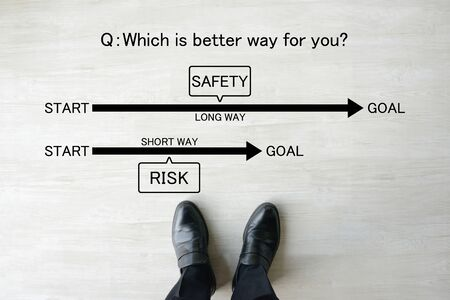 Business concepts, choice of risky way or safe way