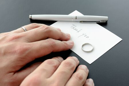Divorce Image - Farewell Message and Ring 写真素材