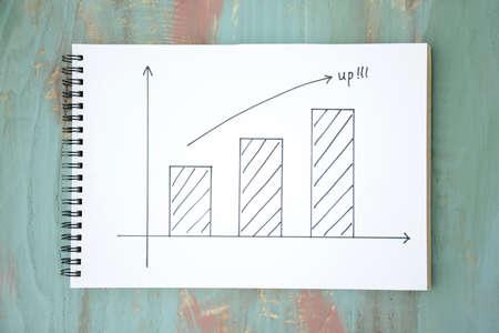 Bar charts and arrows - rising image
