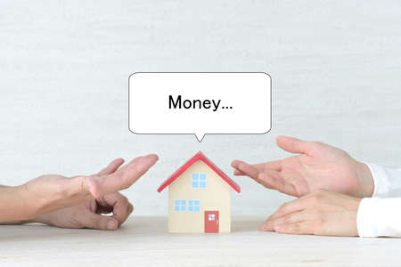 A couple discussing a mortgage