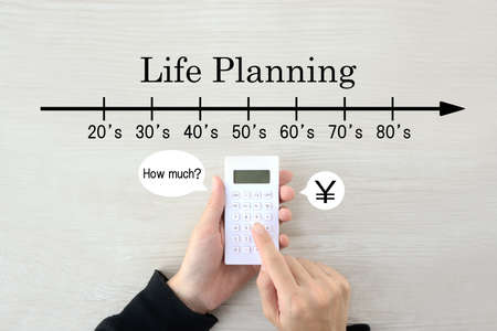 Images of life design and money calculations