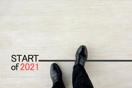 Businessman on the starting line for 2021 免版税图像