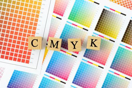 CMYK character blocks and color charts Foto de archivo