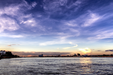 Sunset view at Tonle sap river in Phnom Penh Cambodia