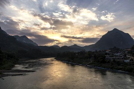 ou: Ou River at sunset in Nong Khiaw, Laos