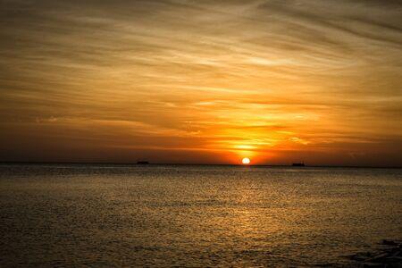 straits: Sunset over the Malacca straits Stock Photo