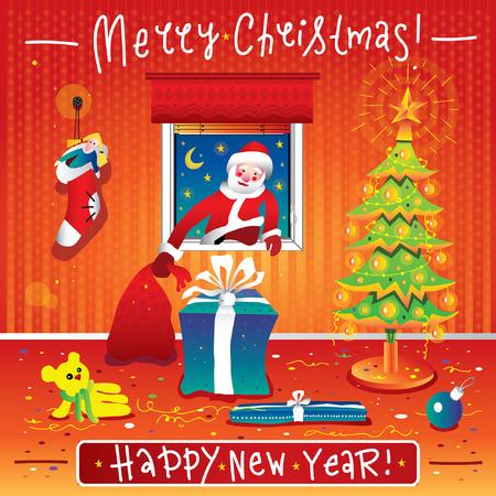 サンタ クロースはプレゼントをクリスマスの部屋に窓を登る。