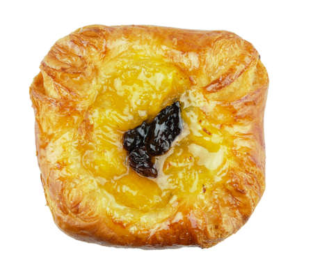 Danishes - Pastry - Bakery product.Danish pastries with lemon cream on white background.