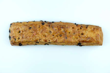 Bread sticks with chocolatechip on white background.