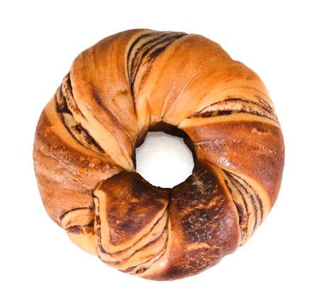 Chocolate donut isolated on white Banco de Imagens