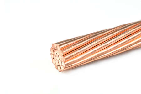 Electrical power cable on white background. Copper wire is the electric conductor of urban society.
